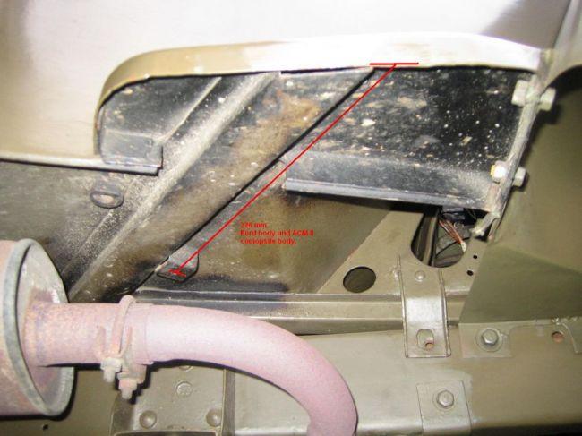 Front Muffler mount measurement late MB/GPW