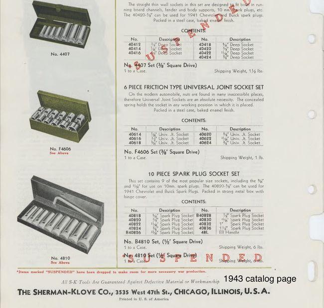 S-K spark plug socket set