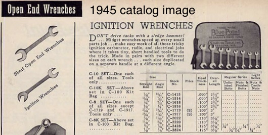Blue Point ignition wrench catalog listing