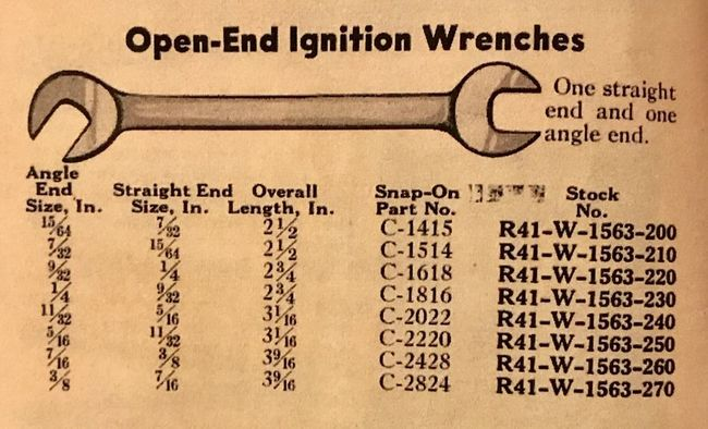 Blue Point ignition wrench NAF listing