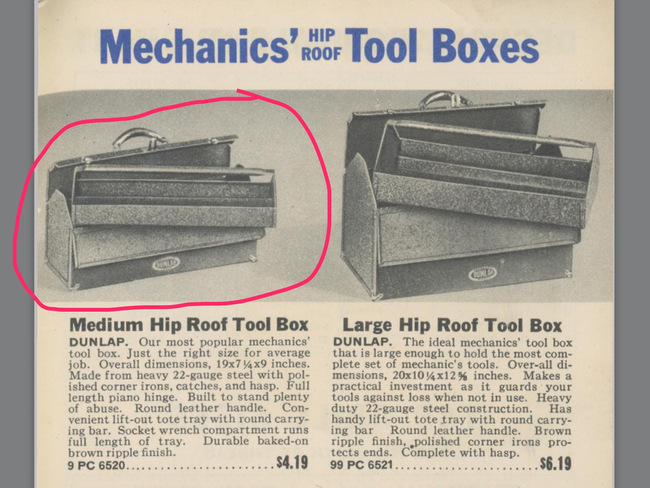 Dunlap toolbox in the '42 catalog