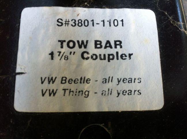 VW tow bar label