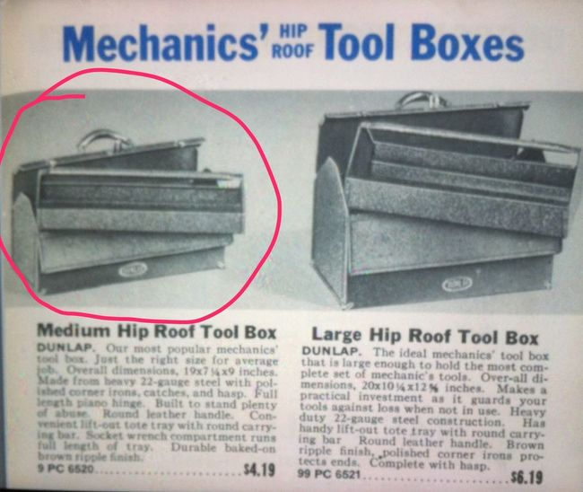Dunlap hip roof toolbox in the 1942 catalog