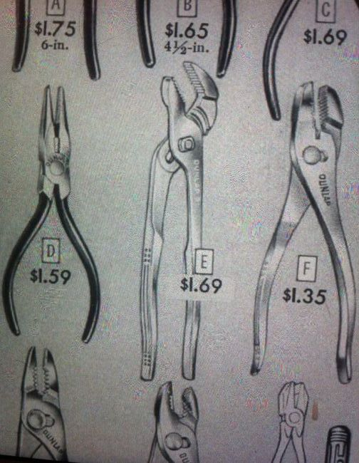 Dunlap pliers from the 1954 catalog