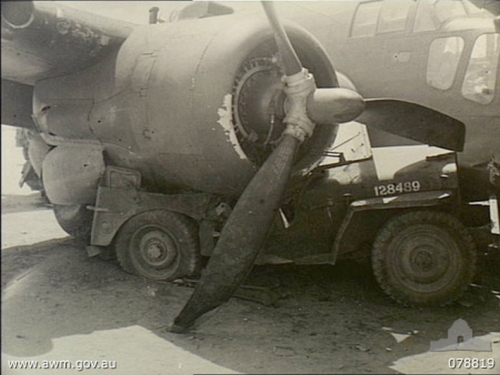 Jeep crushed by plane
