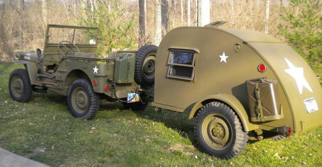 Popular Military Trailer M101A2 With Camper Shell Commando Green