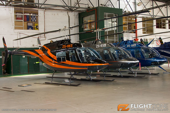 Bell 206 Jet Ranger ZS-HKE ZS-RXB ZS-HKF Rand Airport FAGM