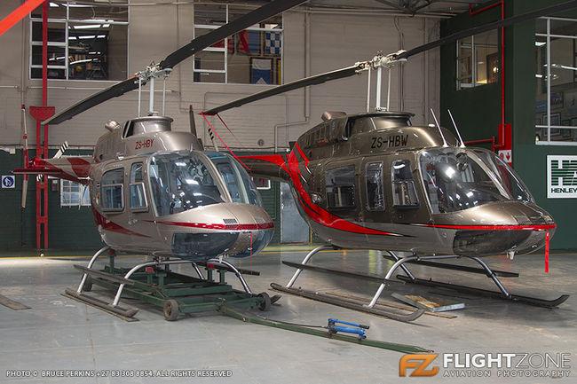 Bell 206L Long Ranger ZS-HBW Bell 206B Jet Ranger ZS-HBY Rand Airport FAGM