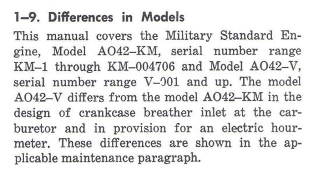 AO42 KM Engine Differences