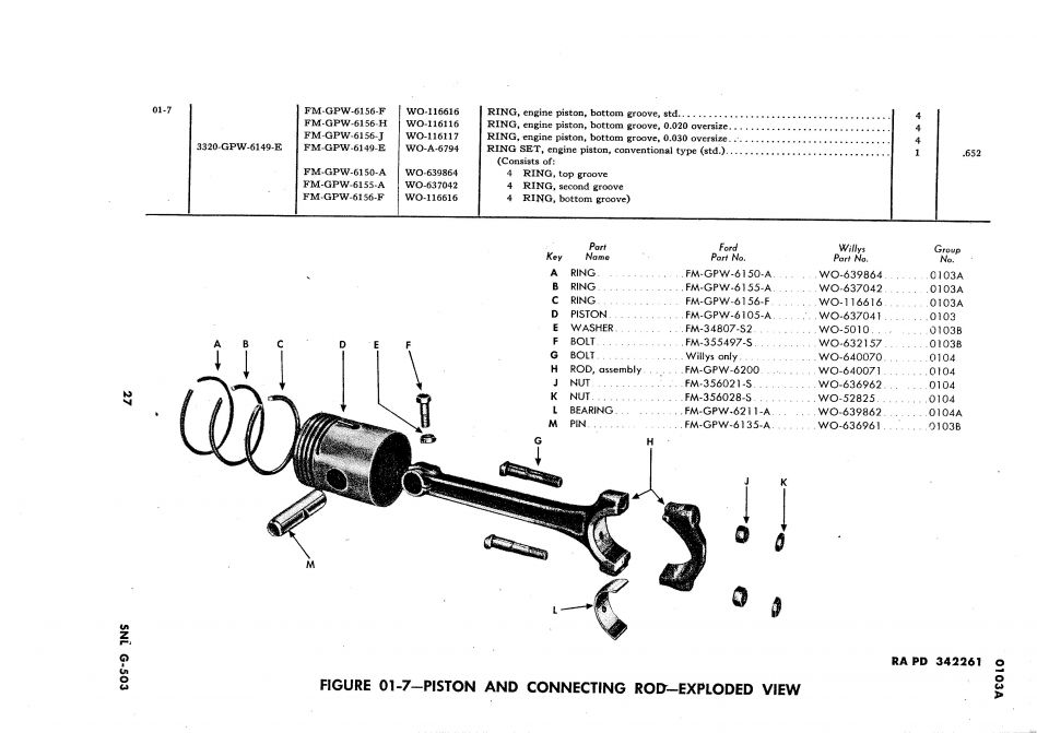 CONNECTING ROD BOLTS FOR JEEP WILLYS