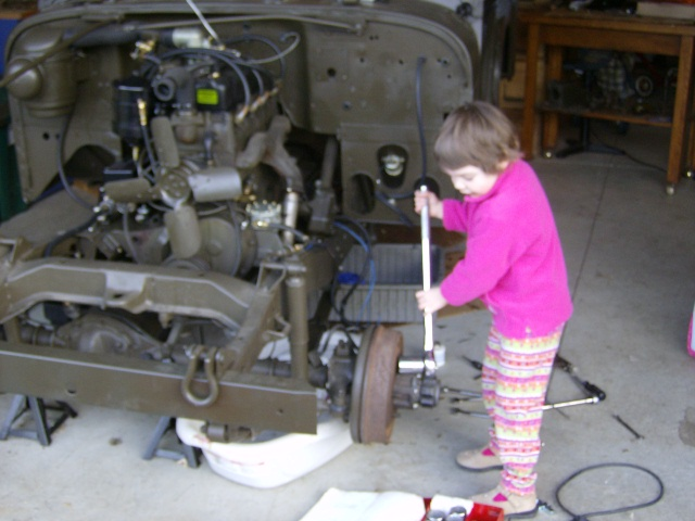 Sarah Working on the Jeep